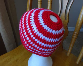 Crochet Ponytail, Messy Bun Hat, Red and White Stripe, l8 in dia x 7 inches high, girls, accessory