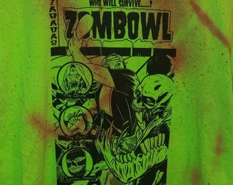 Upcycled weathered zombowl shirt 2xl green