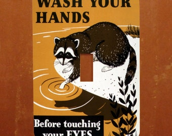 Wash Your Hands -- Vintage Health Poster Raccoon Light Switch Cover -- Oversized