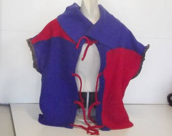 Boxy sleeveless vest raw edge patchwork deconstructed sweaters royal blue and red women extra large plus men medium large