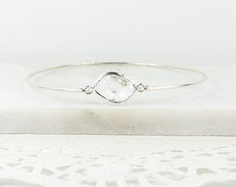 Crystal Sterling Silver Bracelet, April Birthstone Sterling Silver Bangle , Crystal Bracelet, April Birthday Jewelry, Bridesmaid Jewelry
