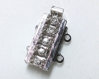 CLSP169SP 2 Strand Clasp Silver Rhodium Finish with 5 crystals Elegant Elements