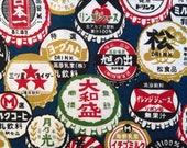 Bottle Caps in multicolor Japanese cotton fabric