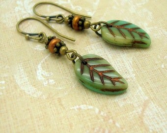 Boho Chic Leaf Earrings with Sage Green Czech Glass Leaves