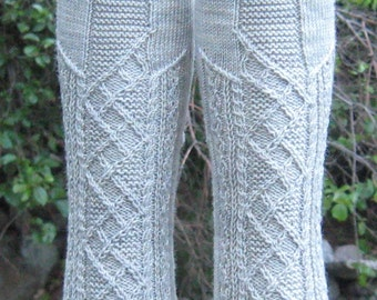 hand knit blue gray wool cable socks