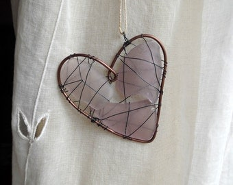 Purple Seaglass Heart Suncatcher Ornament