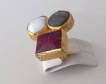 Triple Gold plated  Pearl, Labradorite and  Ruby  ring