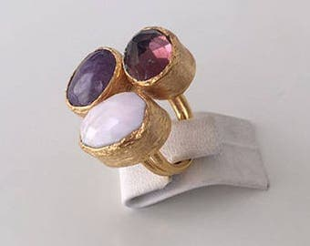 Triple Gold plated  Pink opal and  Amethyst  ring