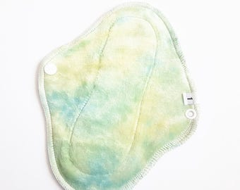 Organic Bamboo Velour Cloth Mentrual Pad - Pantyliner Thickness - Sea Foam Green and Yellow Dyed  8 inch FREE Shipping