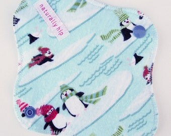 """7"""" 18cm Cotton Flannel Panty Liner, Penguins Winter Ice Cute, Cloth Menstrual Pad, Incontinence Liner, Waterproof Light Day Pad Cloth Sanpro"""