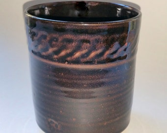 Wheel Thrown Pottery Kitchen Utensil Holder - Black Glaze over Paprika - Chattered Texture