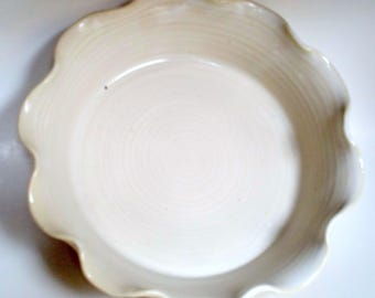 Egg Shell or Off White Pie Pan - Pie Plate - Baker - Wheel Thrown Pottery by Jolene