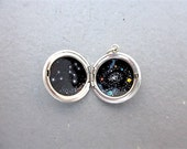 Reserved for Nancy - Galaxy and Constellation Painting in Sterling Silver Locket
