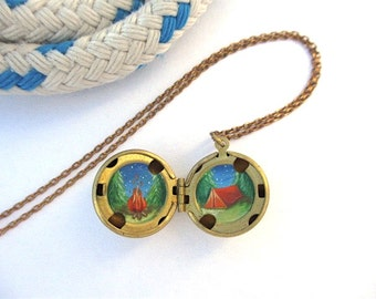 Mini Oil-Painting Inside a Locket, Campfire and Backpacking in the Great Outdoors