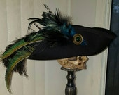 Black and green pirate, Steampunk, Marie Antoinette, Baroque, 18th century tricorn