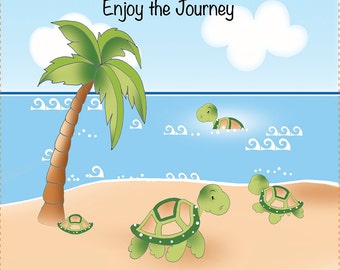 "AP6.34 - Turtles on a Journey - 6"" square Art Panel"