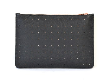 Coralie - Handmade Black Copper Perforated Leather Clutch Bag Zip Pouch Purse SS17