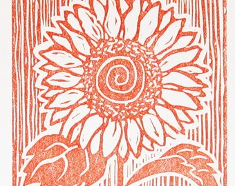Sunflower Block Print, Orange