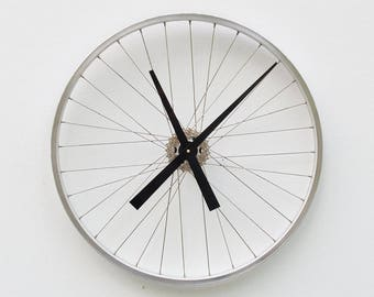 Bike Wheel Clock, Cyclist Gift, Large Wall Clock, Unique Wedding Gift, Steampunk Decor, Bicycle Wall Clock, Modern Wall Clock, recycled gift