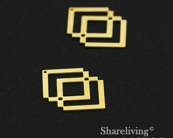 Exclusive - 6pcs Raw Brass Geometry Chevron Charm / Pendant,  Fit For Necklace, Earring, Brooch  - TG332