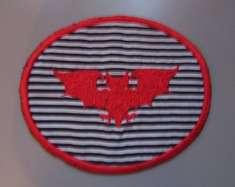 Red Bat Sew on Patch Applique Gothic