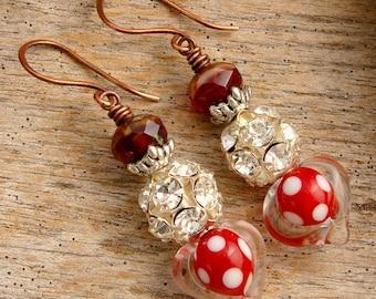 HEART O' MINE - Handmade Lampwork Glass Heart Beads, Silver and Copper Earrings