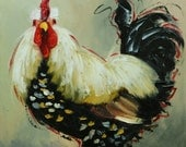 Rooster 858 12x12 inch animal portrait original oil painting by Roz