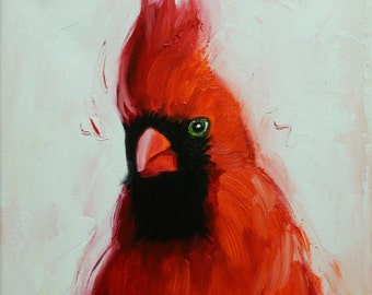 Cardinal 84 12x12 inch bird animal portrait original oil painting by Roz