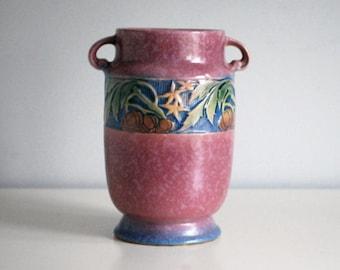 Roseville Baneda Vase, 1930s Art Pottery Vase, Fine Art Ceramics, 610-7 Pink Vase, Art Deco Decor, Arts and Crafts Pottery