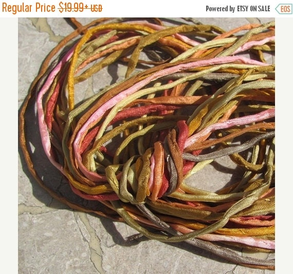 HOLIDAY SALE PEACH Cobbler Silk Cording Assortment, Bulk Silk Cords Qty 10 to 100 Hand Dyed Hand Sewn, Silk Strings, Great Kumihimo Braids o
