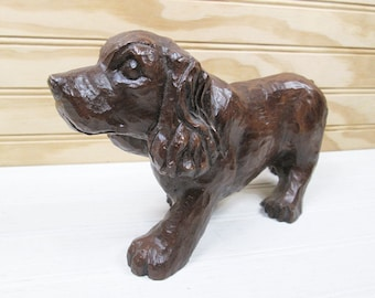 Vintage Red Mill Cocker Spaniel Dog Figurine Brown Pecan Shell Resin Composite