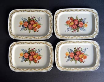 Vintage Tray Set of 4 -Rose Floral Coasters 1960's Small Trays Snack Sets Hostess Gift