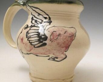 jumbo mug with flying pig slip trailed pottery