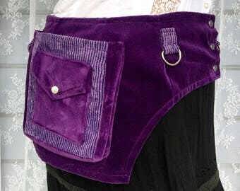 Desert festival pocket belt - plus size utility belt - purple utility belt - recycled fabric pocket belt - pixie pocket belt - Large