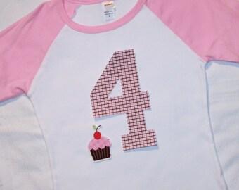 Girls 4th Birthday Number 4 Pink Raglan Shirt - number 4 in pink brown plaid plus cupcake