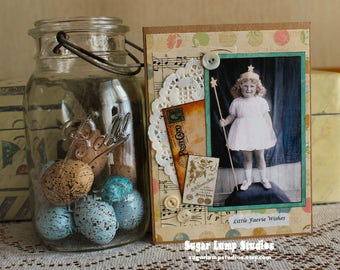 Little Faerie Wishes Happy Birthday Collage  card,handmade card