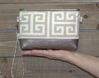 iPhone Wallet Wristlet iPhone 7 Plus Crossbody, Samsung Galaxy Note, S6 S7 Edge, Cell Phone Purse Clutch, Card Slots / Beige Greek Keys