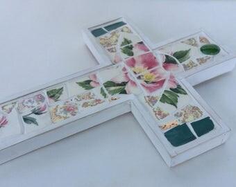 """China Mosaic Cross Pink Flowers 9"""" tall"""