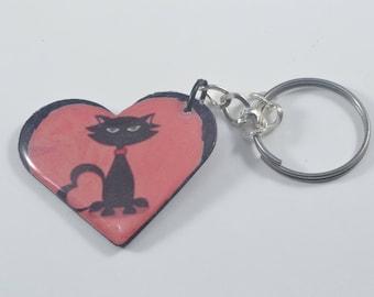 Black CAT Heart Shaped Key Fob Ring Chain Keychain