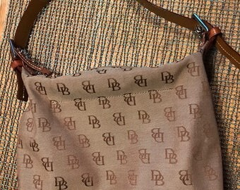 early 1990's vintage Dooney and Bourke handbag canvas leather strap nice