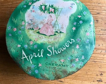 Cheramy April Showers Vintage 6 1/6 oz Perfumed Talc Litho Tin 1960's no talc just tin great storage herbs jewelry crafts