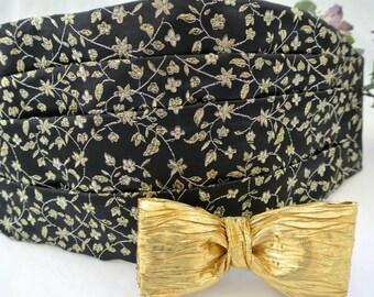 Men's Formal Wear  , Cummerbund Set , Bow Tie  , Party Outfit , Prom , Gold Necktie , Formal Wedding Style , Groomsmen Gift