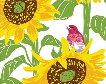 Purple Finch in Sunflower : Box of 8 A2 folding blank cards