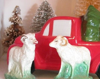 Chewing the Cud...Pair of Vintage Nativity Chalkware Animals