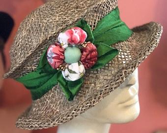 Seagrass Straw Travel Hat- Silk band and hankie flower- Hazel