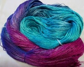Hand dyed Tencel Yarn - 4/2 Tencel Lace Wt. Yarn  HIGH TIDE - 420 yards