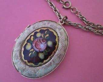 Vintage Guilloche' Enamel Locket Necklace