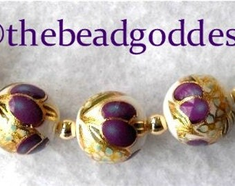 NEW PATTERN Japanese TENSHA Beads 12mm round, Purple Plums and Gold on White.