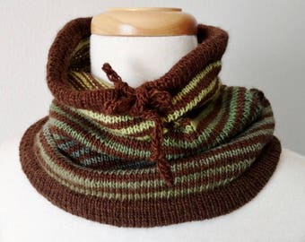 Forest Stripe Cowl - Grays Harbor Knit Cowl in Green Gradient Stripes on a Brown Background - Drawstring Cowl, Convertible Hat, Handmade