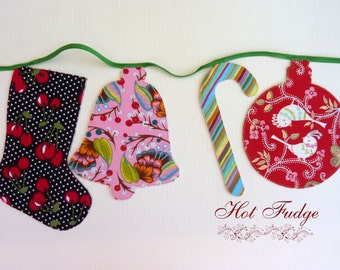 Christmas in July, Festive Garland, Designer Fabrics, Double Sided